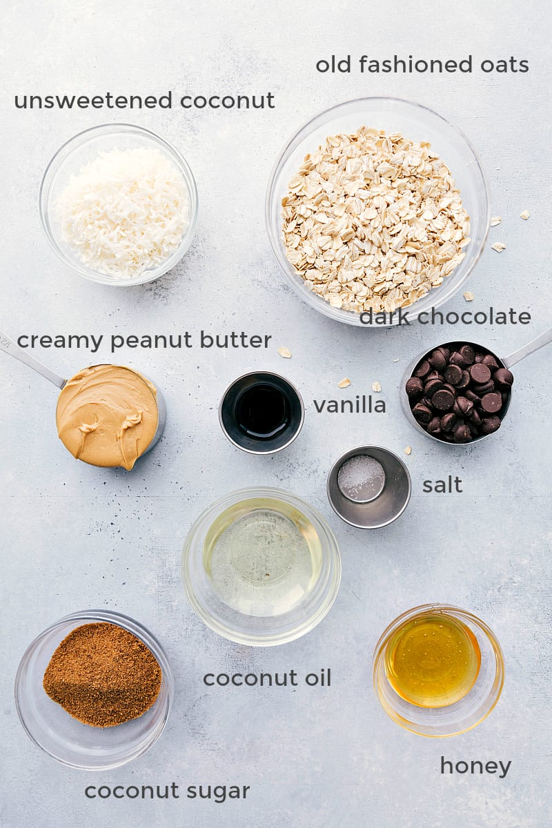 Overhead shot of ingredients for healthy no bake cookies