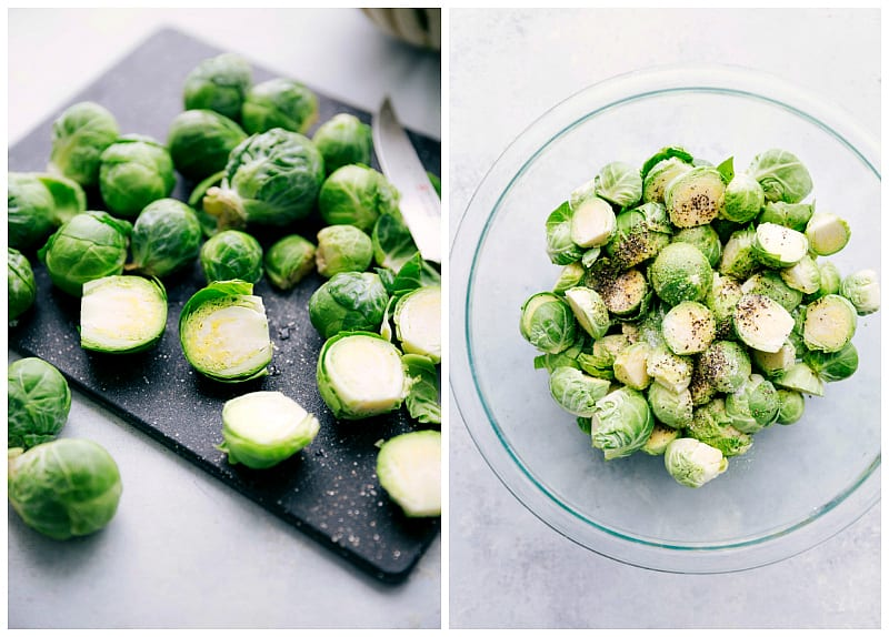 Step by step process photos of preparing oven roasted brussel sprouts