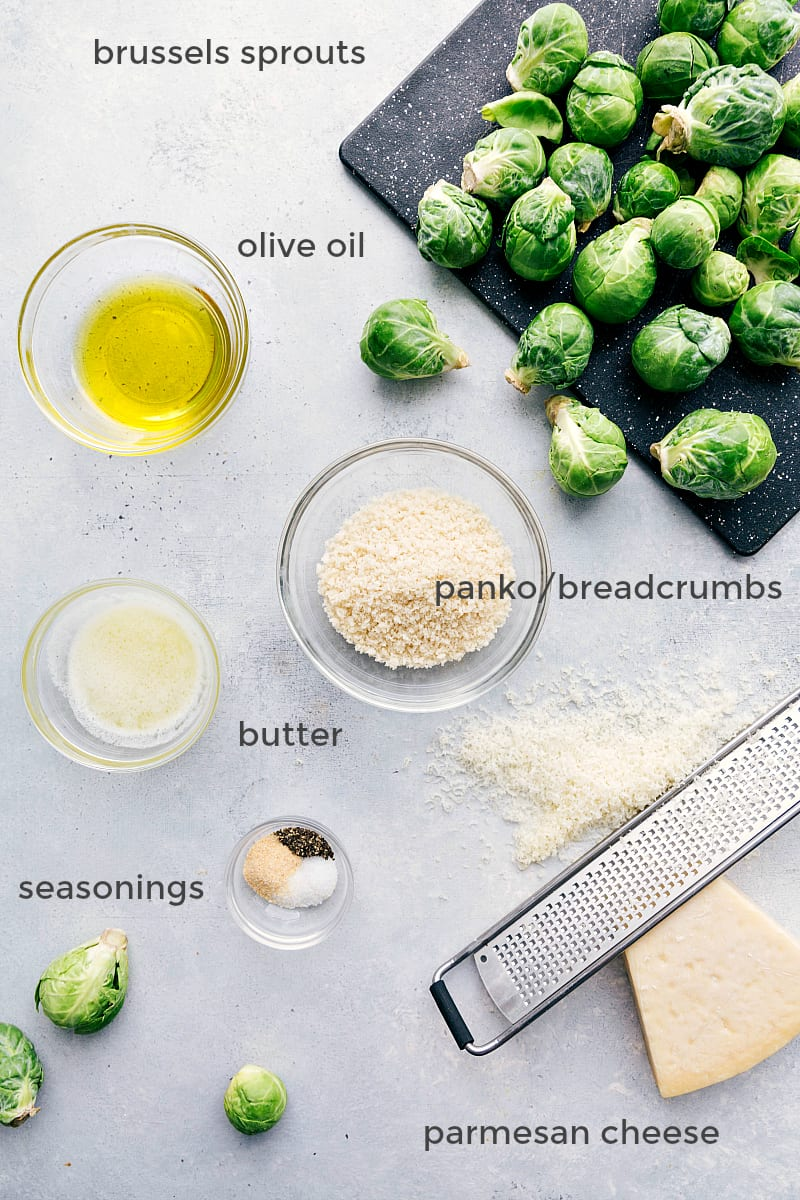 Overhead ingredient shot of everything needed for roasted brussels sprouts