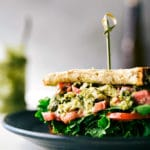 10-minute easy and quick pesto chicken salad sandwiches with roasted red pepper3