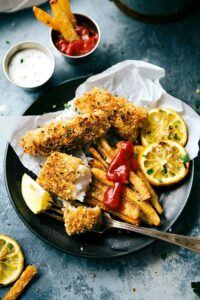 A quick and delicious take on fish and chips -- all baked on just ONE pan.