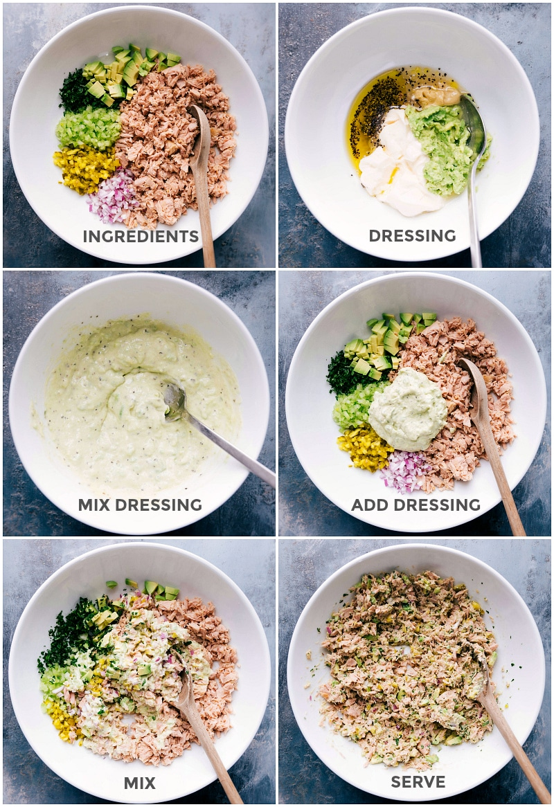 Process shots-- Images of the ingredients being added to the dressing and mixed together to be served.