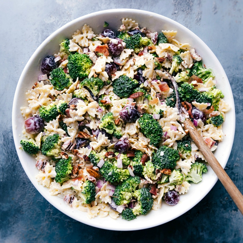 Overhead image of Broccoli Grape Pasta Salad in a bowl ready to be served and eaten.