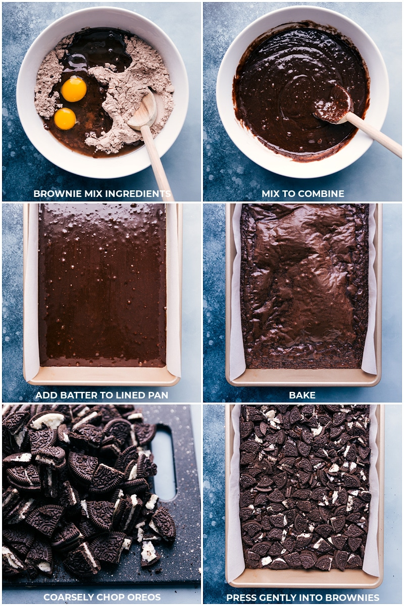 Process shots-- images of the brownies being baked and the Oreos being chopped and added on top of the brownies.