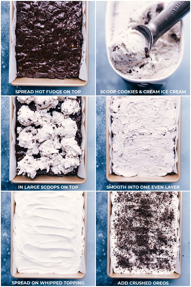Process shots-- images of the hot fudge being added on the top, ice cream being spread over that, whipped cream going on top of that, and Oreo crumbs being sprinkled on top.