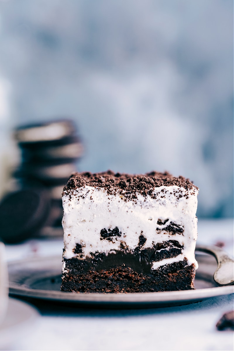 Image of a piece of Brownie Oreo Ice Cream Cake on a plate