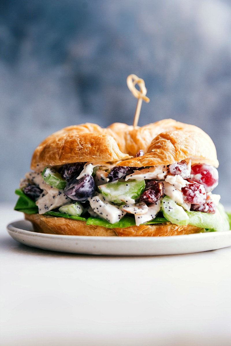 Up close image of the healthy chicken salad on a croissant ready to be eaten