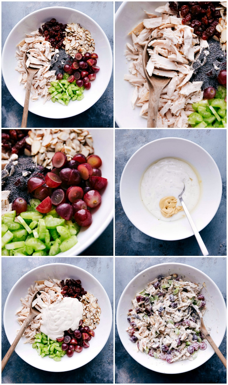 Process shots-- images of the ingredients in a bowl with the dressing being added and then it all being mixed together