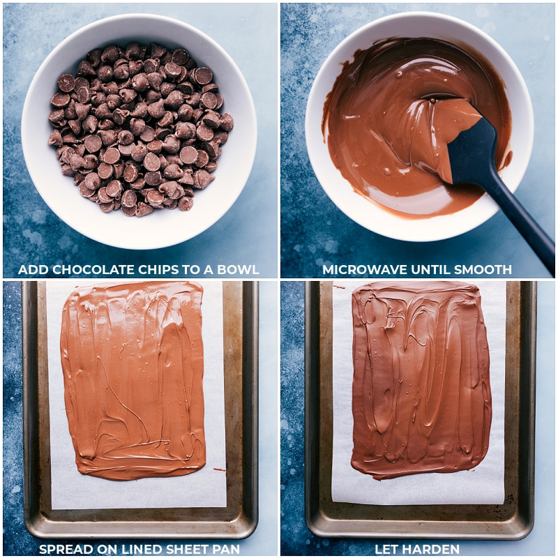Process shots: melting chocolate and smoothing it onto a sheet pan