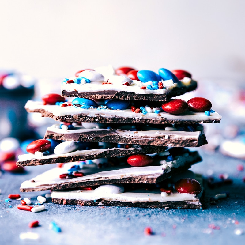 Fourth of July Bark stacked on top of each other