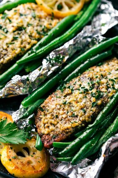 Tin Foil Garlic Parmesan Salmon and Veggies