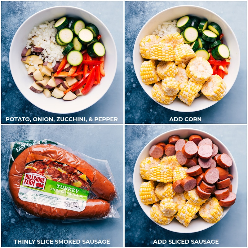 Process shots-- images of all the veggies being cut up and added to a bowl and then the sausage being sliced and added on top