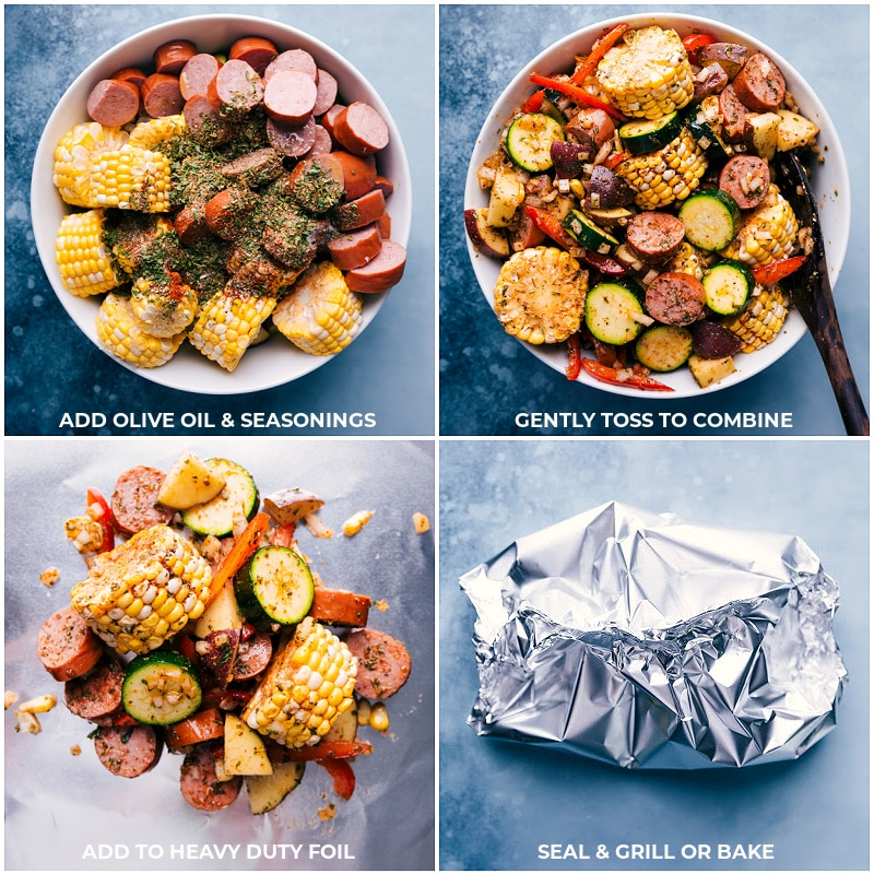 Process shots-- images of the oil and seasonings being added on top of these tin foil sausage and veggies and then the mixture being added to foil and sealed to grill or bake