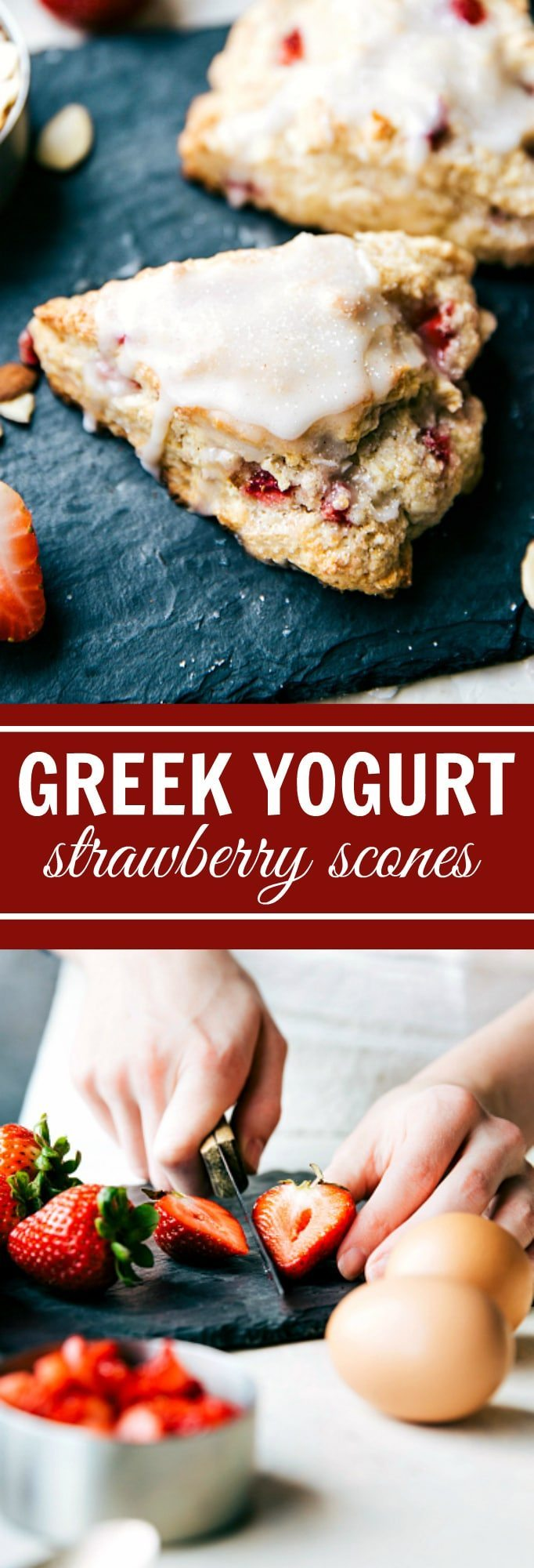 Quick GREEK YOGURT Strawberries and Cream Scones PLUS a chocolate-chip scone recipe! via chelseasmessyapron.com