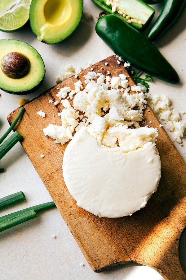 Up close of the cotija cheese and jalapenos