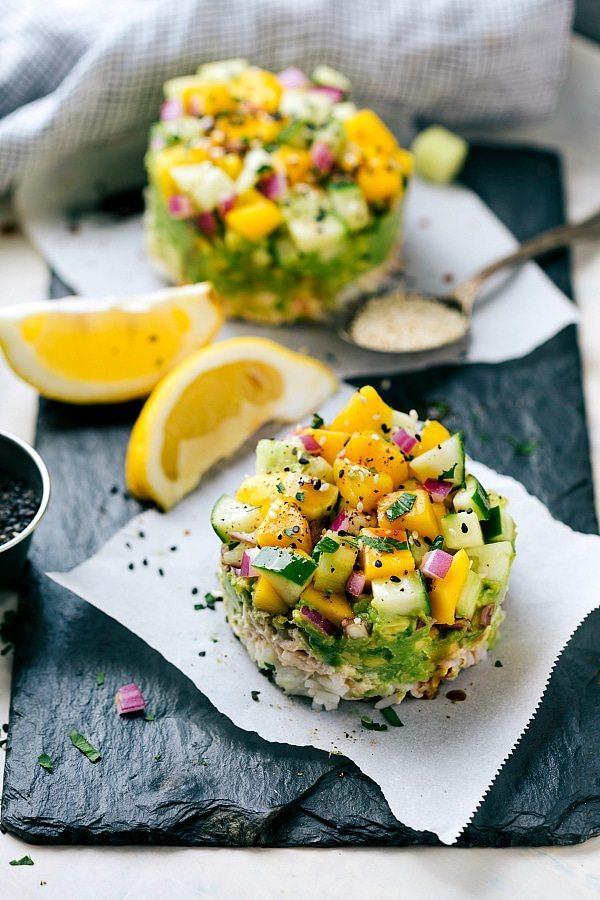 DELICIOUS Tuna Sushi Stacks -- easy, kid-friendly, healthy, delicious! Recipe via chelseasmessyapron.com
