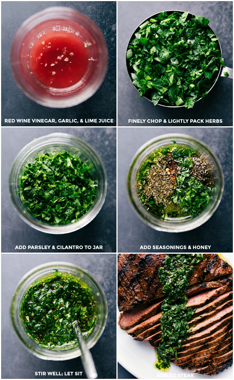 Process shots: Make chimichurri sauce by first combining red wine vinegar, garlic and lime juice; finely chop and lightly pack parsley and cilantro and add to vinegar; add seasonings and honey; stir well and let sit; serve over steak.