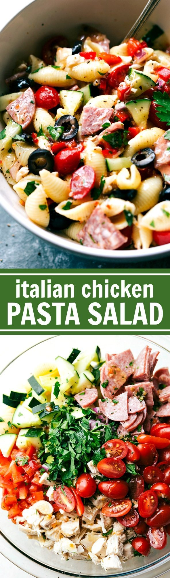 EASY Italian Chicken Pasta Salad with a super cool veggie cutting hack! Recipe via chelseasmessyapron.com