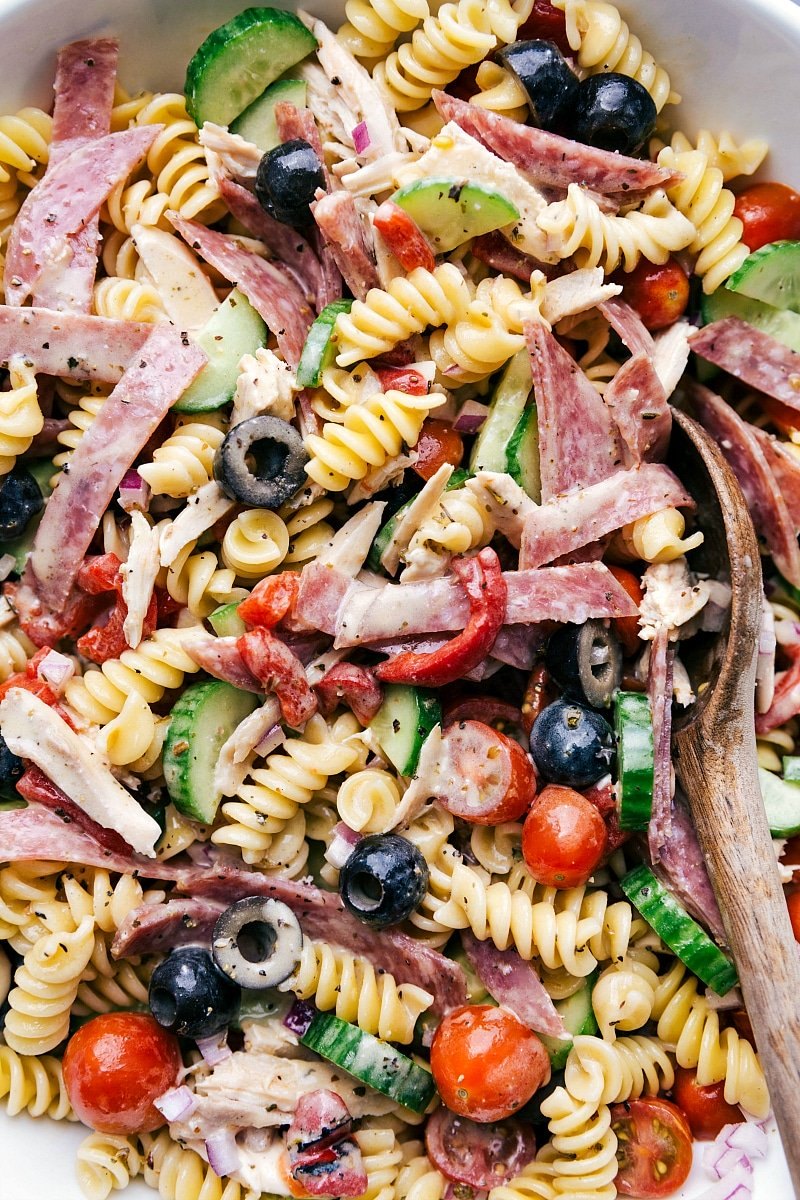 Up-close view of the finished Italian Pasta Salad.