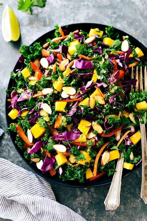 Orange-Ginger Dressed Kale and Veggie Salad recipe from chelseasmessyapron.com