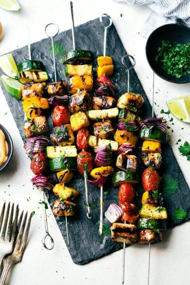 Orange Ginger Kale Salad with Chicken Veggie Kebabs