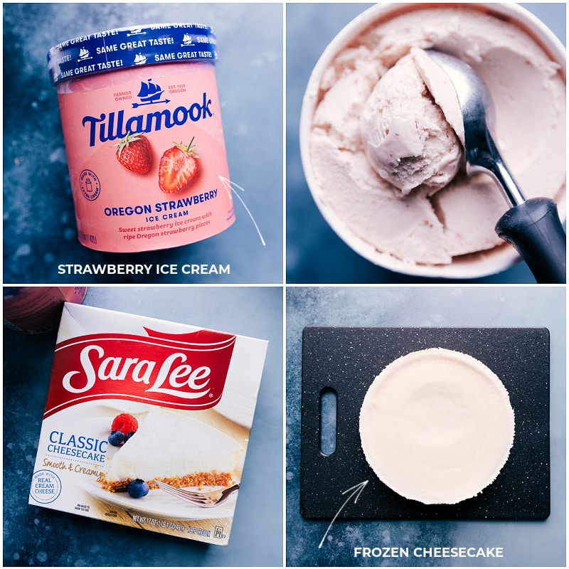 Ingredient shots-- images of the ice. cream and cheesecake used in this recipe