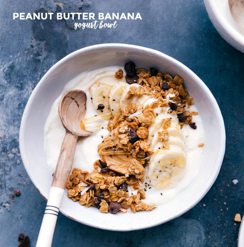 Overhead image of the peanut butter banana Yogurt Bowl.