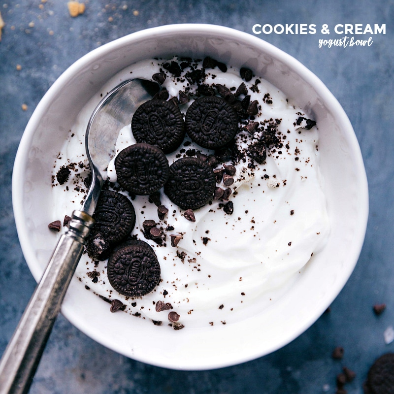 Overhead image of the cookies and cream bowl with a spoon in it ready to be eaten