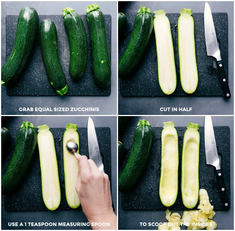 Process shots: Select similar-sized zucchini; cut each in half lengthwise; scoop out the seeds and most of the flesh with a small measuring spoon.