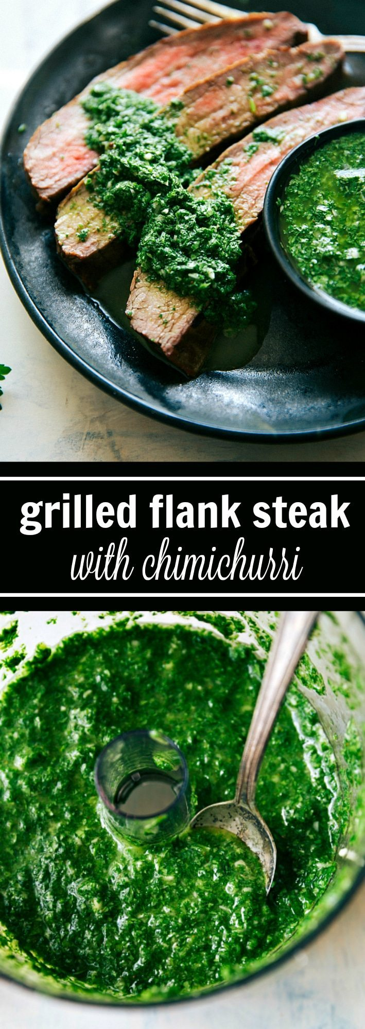 Easy grilled flank steak with a delicious marinade and an easy cilantro-parsley chimichurri. This grilled flank steak recipe includes a simple marinade, easy rub, and a delicious chimichurri sauce. Recipe from: chelseasmessyapron.com