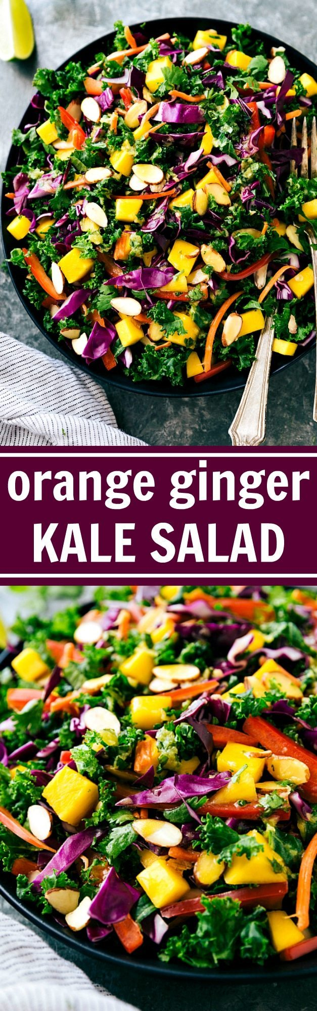 A delicious Orange Ginger Dressed Kale Salad recipe from chelseasmessyapron.com