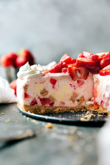 No Bake Strawberry Cheesecake Ice Cream Pie