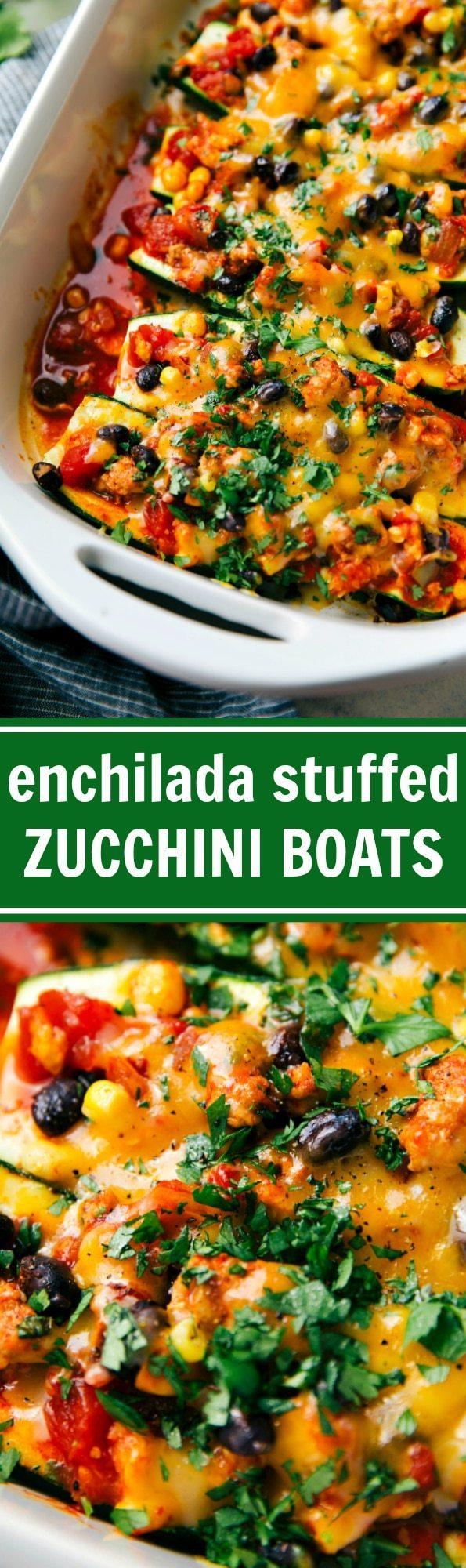 Mexican ground turkey enchilada stuffed zucchini boats bursting with flavor and tons of good-for-you ingredients! Recipe from chelseasmessyapron.com