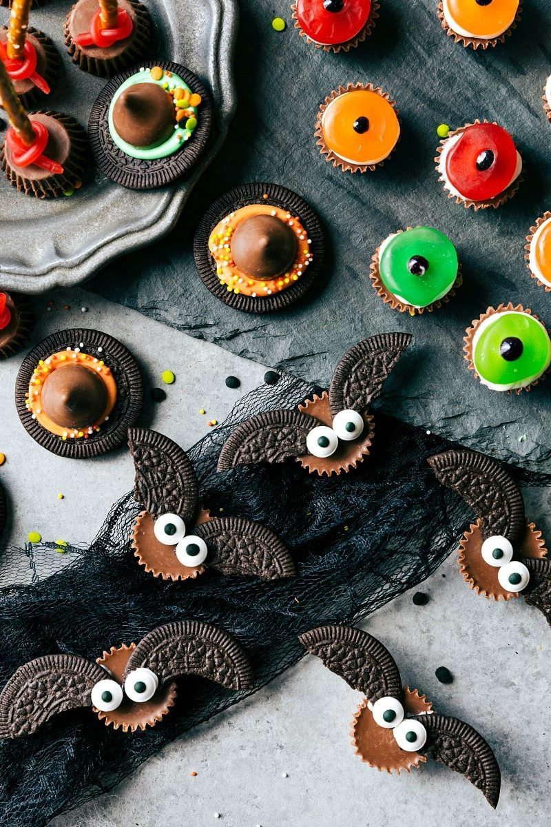 BAT BITES. Easy, cute, festive, and fun-to-make Halloween treats -- each with three ingredients or less. Monster eyeballs, witches hats, witches brooms, and bat bites.