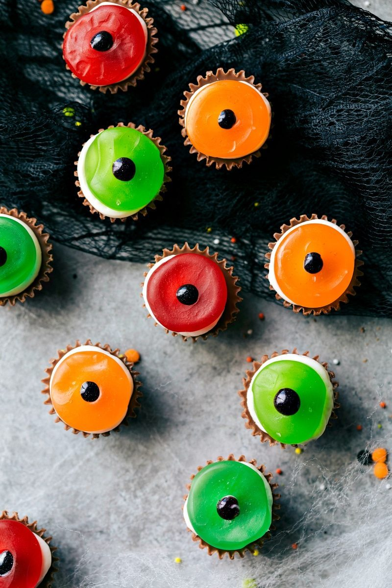 Easy, cute, festive, and fun-to-make Halloween treats -- each with three ingredients or less. Monster eyeballs, witches hats, witches brooms, and bat bites. Recipe via chelseasmessyapron.com