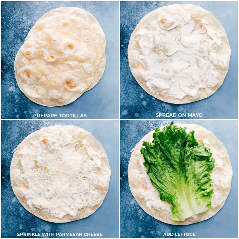 Process shots-- images of the mayo, lettuce, and Parmesan cheese being added to tortilla.