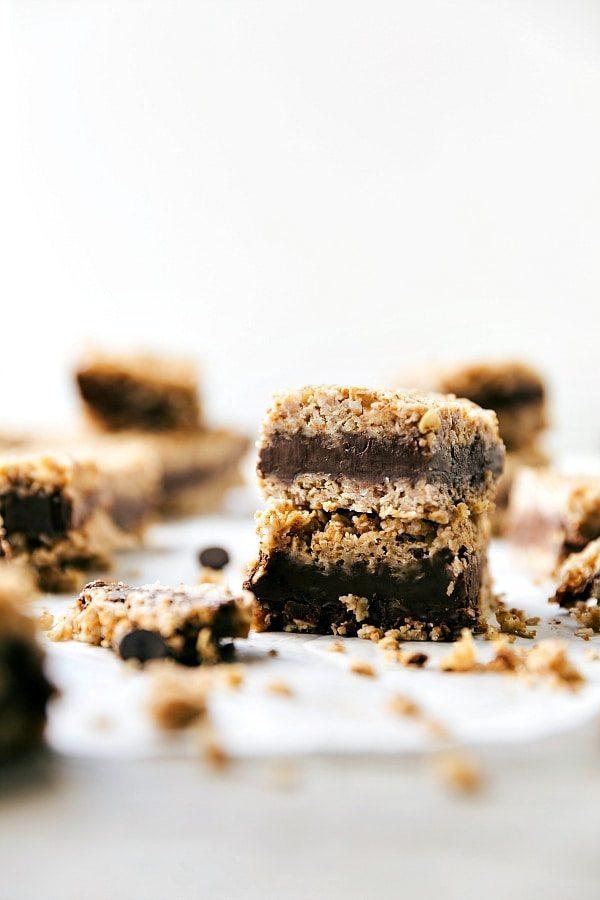 NO BAKE HEALTHY CHOCOLATE PEANUT BUTTER FUDGE BARS Recipe via chelseasmessyapron.com