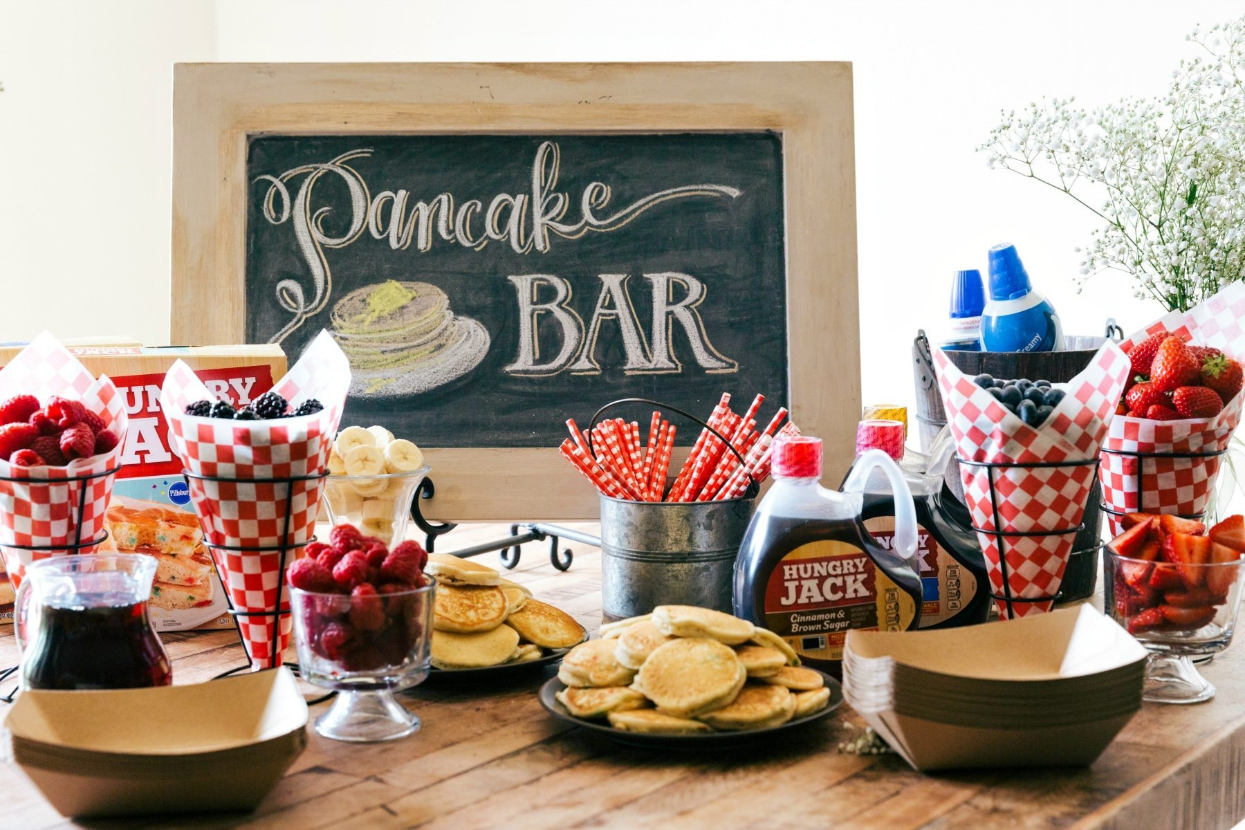 A great idea for a party, baby shower, wedding shower, birthday, etc. An easy PANCAKE BAR with a SPARKLING JUICE BAR! (Non alcoholic)