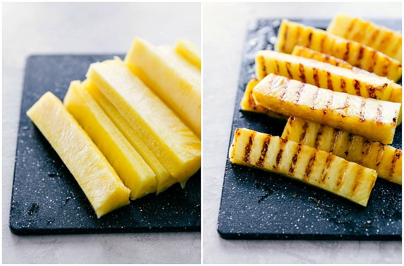 Image of the pineapple that goes into this pineapple chicken recipe before and after it has been grilled