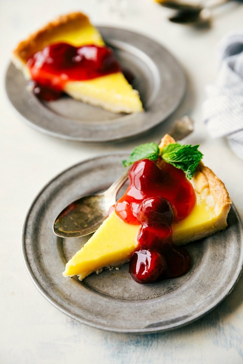 The best thick crust loaded with a custard-like filling and loaded with sweet strawberry pie filling.