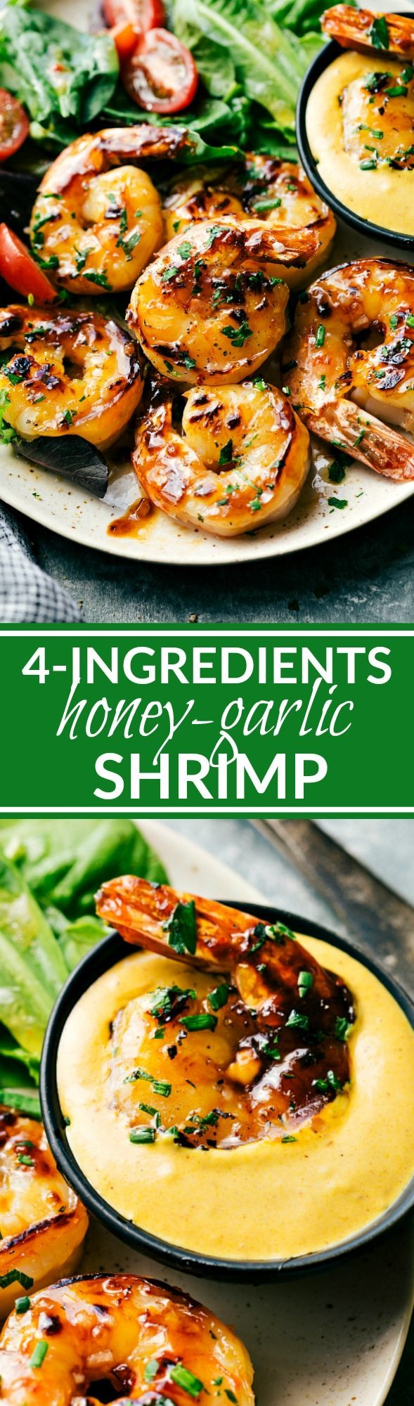 SWEET HONEY GARLIC SHRIMP! The easiest shrimp dish! Only three ingredients double as a marinade and basting sauce to create this ultra-flavorful sweet honey-garlic shrimp. Plus a simple (optional) 3-ingredient dipping sauce! Recipe via chelseasmessyapron.com
