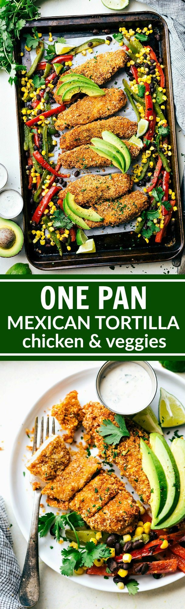 ONE PAN Mexican Tortilla Chicken and Veggies! Tortilla crusted chicken baked on one pan with peppers, corn, and black beans! A delicious, hearty, and healthy meal the whole family will love! Recipe via chelseasmessyapron.com