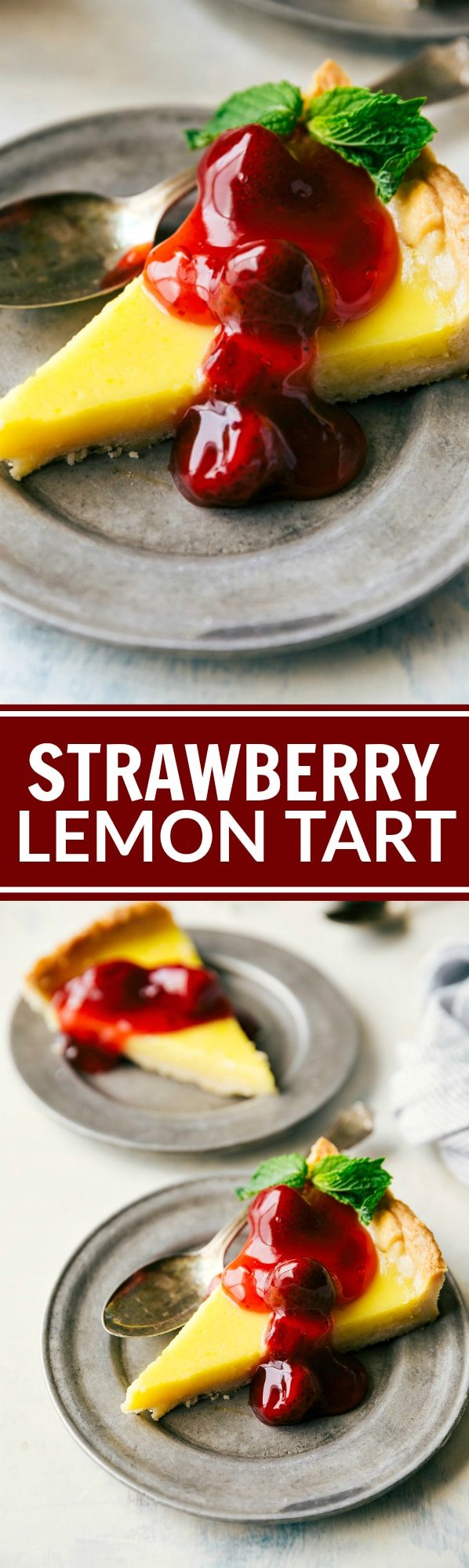 BLENDER STRAWBERRY TART! The best thick crust loaded with a custard-like filling and loaded with sweet strawberry pie filling. Recipe via chelseasmessyapron.com