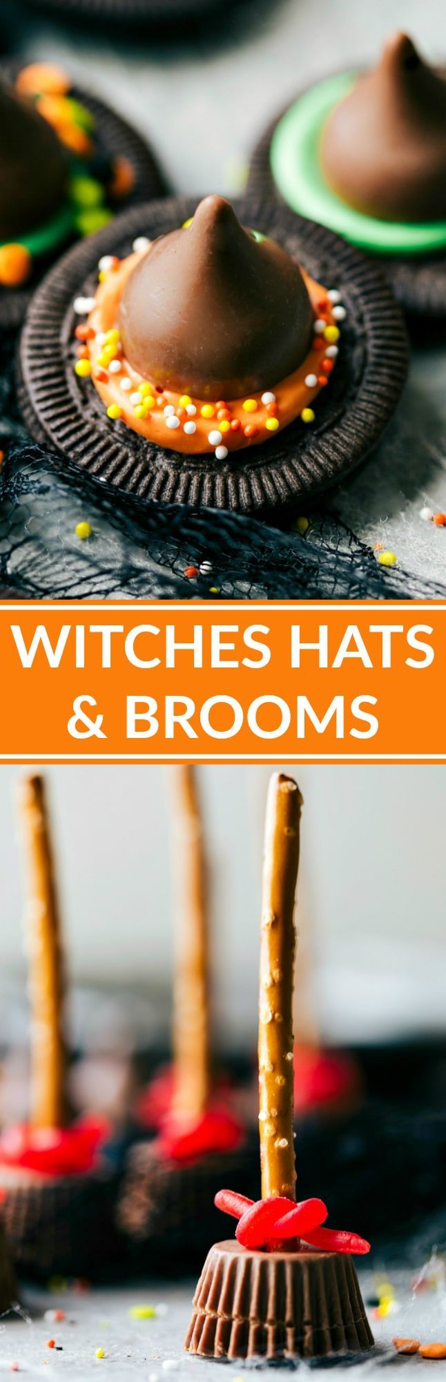 Easy, cute, festive, and fun-to-make Halloween treats -- each with fouringredients or less. Monster eyeballs, witches hats, witches brooms, and bat bites. Video tutorial included! Recipes via chelseasmessyapron.com