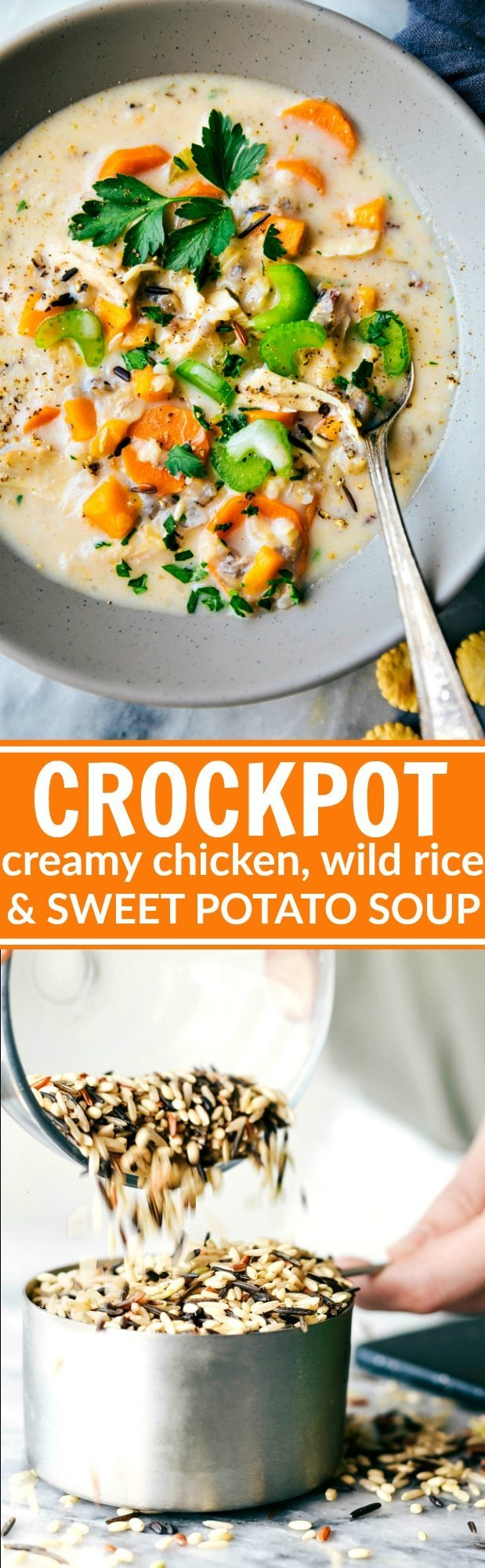 Slow cooker creamy chicken, sweet potato, and wild rice soup with extra veggies -- a dump it and forget about it dinner the whole family will love! NO Heavy Cream or Cream of X Soups!Delicious CROCKPOT soup! Recipe from chelseasmessyapron.com