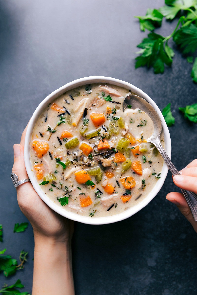 Overhead image of Crockpot Chicken-Wild Rice Soup, in a bowl, ready to be eaten