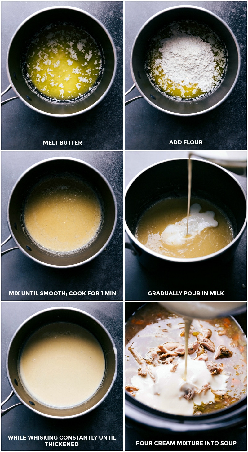 Process shots-- images of the cream sauce being made and added to the slow cooker.