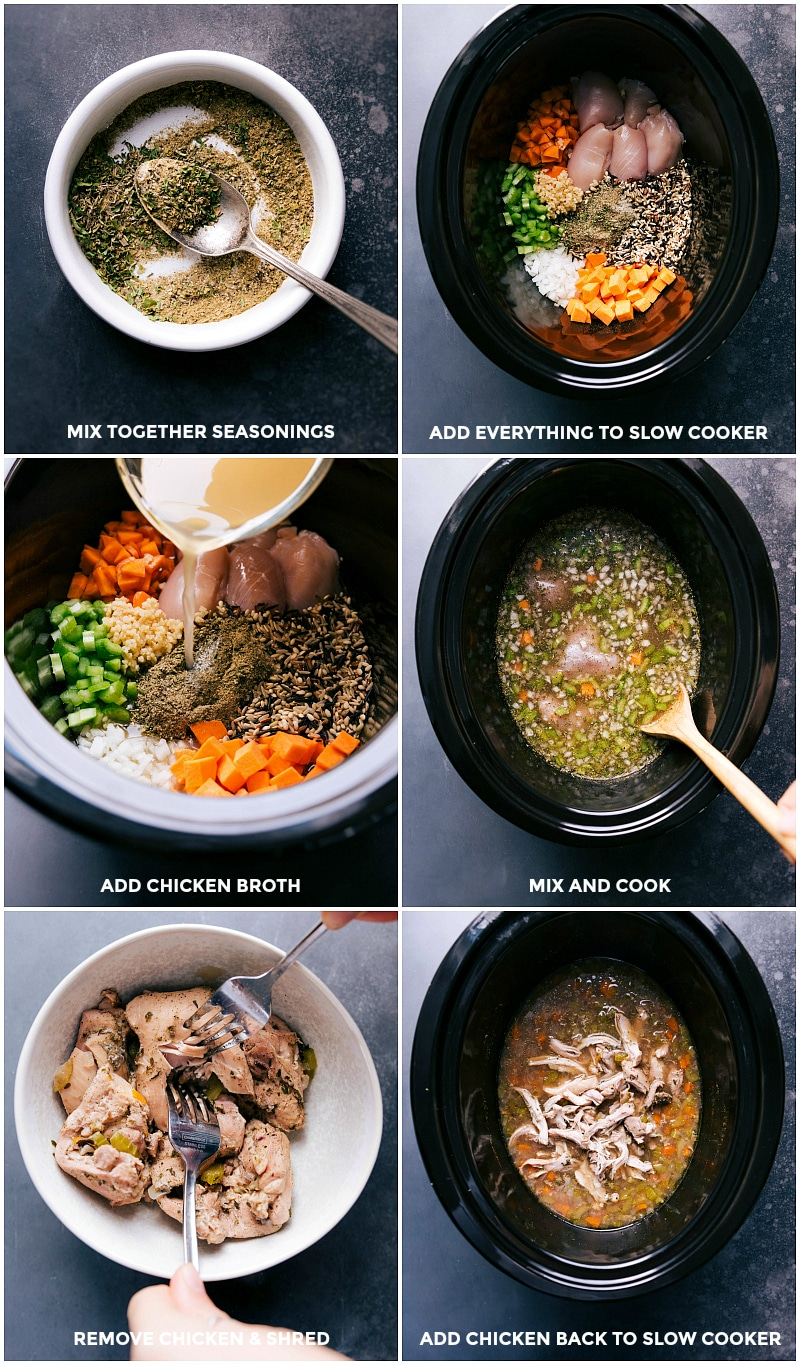 Process shots-- images of all the ingredients being put in the slow cooker; everything cooking; the chicken being shredded; chicken added back to the soup.