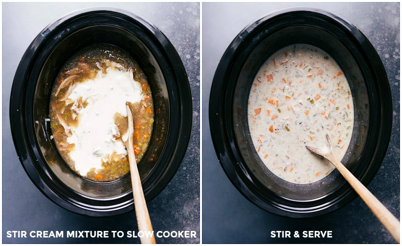 Two images: adding cream mixture into the slow cooker; stirring and ready to serve.