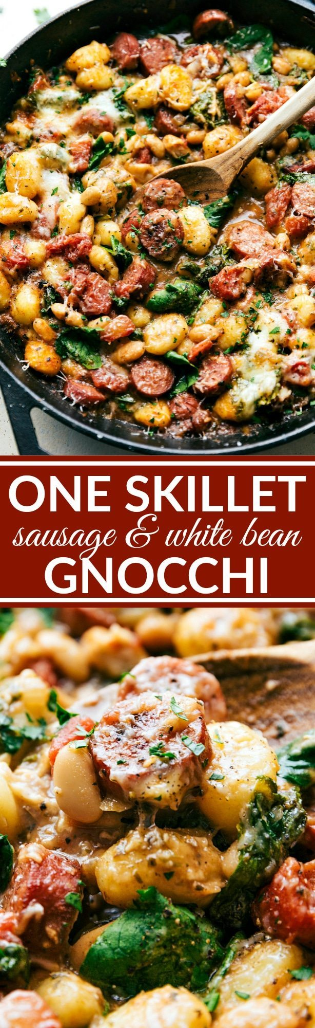 Only ONE skillet needed for a delicious 30 minute dinner recipe. Garlic, onion,sausage, white beans, gnocchi, tomatoes, and spinach plus spices and cheese mix together to make an incredible dinner in thirty minutes. Recipe via chelseasmessyapron.com